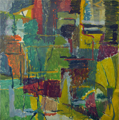 James Faure Walker (b.1948) 'Green Still Life' 1982, oil on canvas, 170 x 170 cm  Contact for Price