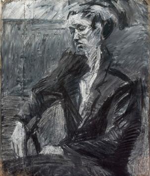 Peter Clossick (b.1948) 'Yolande' charcoal/chalk on paper, 92 x 80 cm
