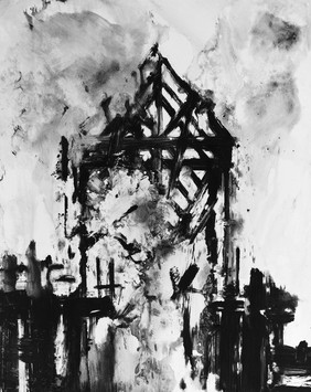 Jeanette Barnes (b.1961) 'Burning Down the House' 2018, monotype, 78 x 58 cm
