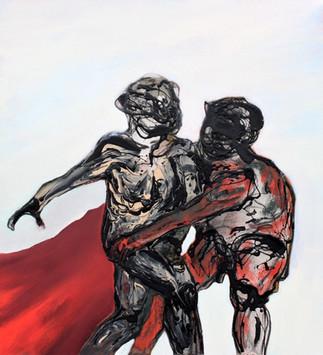 Richard Harrison (b.1954) 'Getting To Grips' 2018, 99 x 89 cm