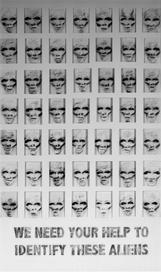 Tam Joseph (b.1947) 'We Need Your Help To Identify These Aliens', 117 x 76 cm