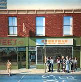 David Redfern (b.1947) 'Everyman Employment Agency' 1981, oil on canvas, 99 x 99 cm  Contact for Price