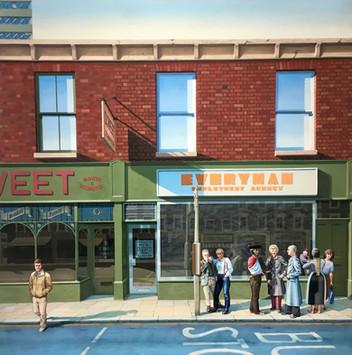 David Redfern (b.1947) 'Everyman Employment Agency' 1981, oil on canvas, 99 x 99 cm