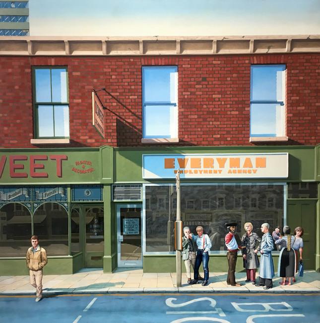 'Everyman Employment Agency', 1981, 99 x 99 cm, oil on canvas