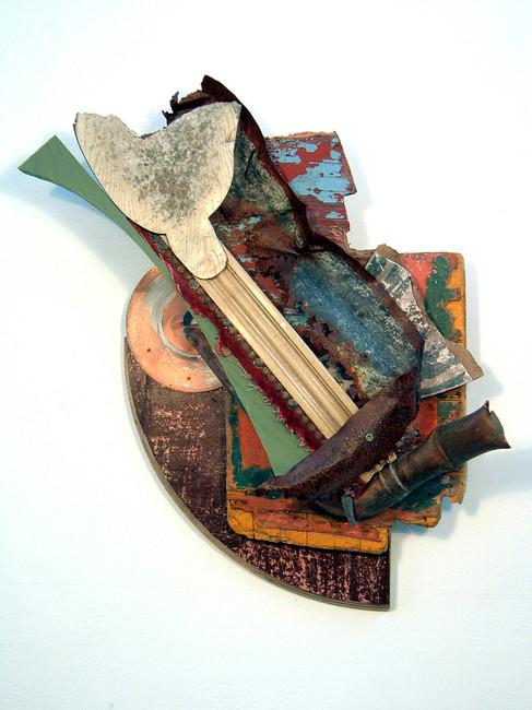 'Les Fleurs du Masonite', 2006, 46.5 x 52 x 15 cm, found object assemblage