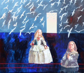 Suzan Swale (b.1946) 'The Infanta and Mari Barbola - After Velazquez' 2015, acrylic on canvas, 50 cm x 60 cm