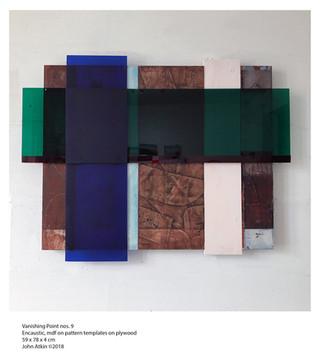 John Atkin (b.1959) 'Vanishing Point no 9', Encaustic, perspex, mdf on pattern templates on plywood, 59 x 78 x 4 cm