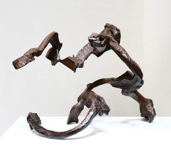 Katherine Gili (b.1948) 'Llobregat' 1989-90, forged mild steel, hot zinc spray, patinated, waxed, H. 54 x 56 x 74 cm