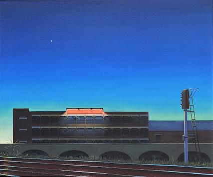 David Redfern (b.1947) 'Donovan's Paper Bag Factory' 1982, oil on canvas, 51 x 61 cm