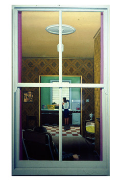 David Redfern (b.1947) 'Look Through Any Window' 1976, oil on canvas, 76 x 38 cm