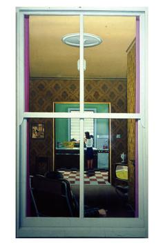 David Redfern (b.1947) 'Look Through Any Window' 1976, oil on canvas, 76 x 38 cm