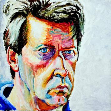 David Redfern (b.1947) 'Self Portrait' 1991, oil on canvas, 30 x 30 cm  