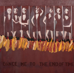 Suzan Swale (b.1946) 'Dance Me To The End Of Time' 2021, acrylic on canvas, 100 x 100 cm  Contact for Price
