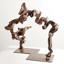 Katherine Gili (b.1948) 'Aspen' 1985-88, forged mild steel, hot zinc spray, patinated, waxed, H. 65 x 63 x 50 cm