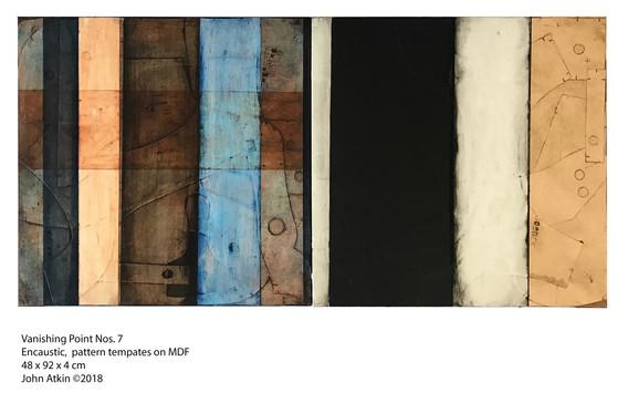 John Atkin (b.1959) 'Vanishing Point no 7', Encaustic, pattern templates on MDF, 48 x 92 x 4 cm