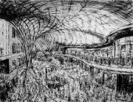 Jeanette Barnes (b.1961) 'King's Cross Interior' compressed charcoal, 169 x 206 cm