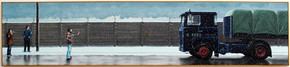 David Redfern (b.1947) 'Strife' 1979, oil on canvas, 46 x 206 cm  Contact for Price