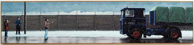 David Redfern (b.1947) 'Strife' 1979, oil on canvas, 46 x 206 cm