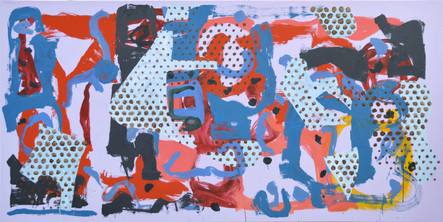 James Faure Walker (b.1948) 'Parade' 2019, 102 x 204 cm, oil on canvas
