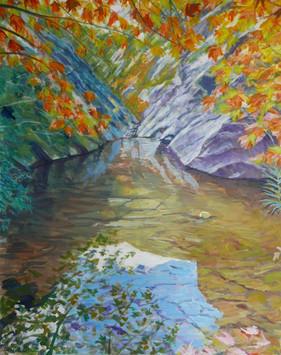 David Shutt (b.1945) 'High Mountain Pool (Autumn)' oil on canvas, 125 x 95cm
