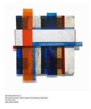 John Atkin (b.1959) 'Vanishing Point no 7a', Encaustic, perspex, mdf on pattern templates on plywood, 55 x 54 x 5 cm