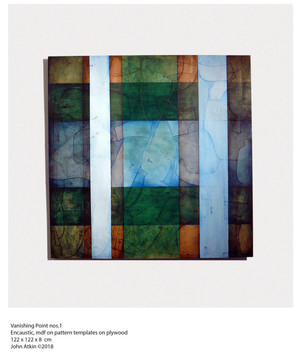 John Atkin (b.1959) 'Vanishing Point no 1', Encaustic, perspex, mdf on pattern templates on plywood, 122 x 122 x 8 cm