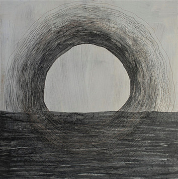 Rosie Leventon 'Speedwell 2' 2008, incised plywood with graphite and emulsion, 78 x 76 cm