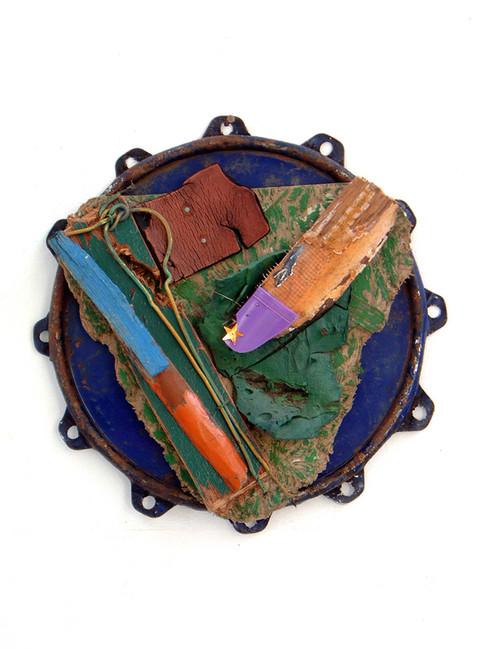 'Deptford Green', 1999, 30 cm diameter x 10 cm, found object assemblage