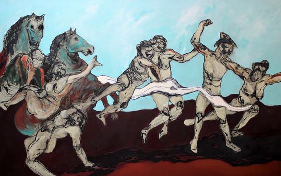 Richard Harrison (b.1954) 'Falling Down' 2019, 190 x 300 cm