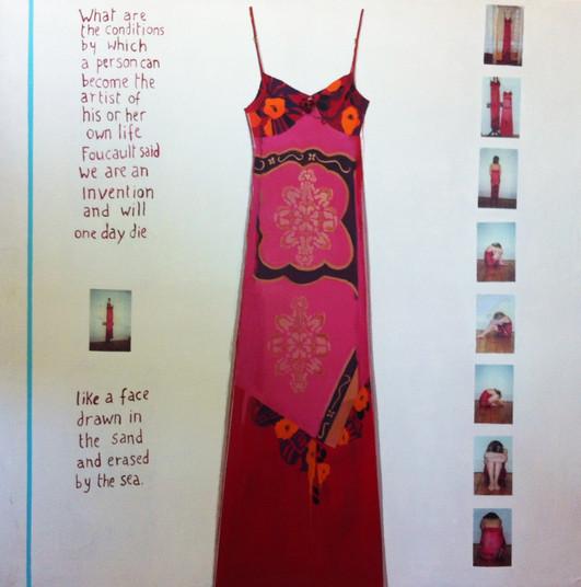 Suzan Swale (b.1946) 'Red Dress' 2003, acrylic on canvas, 152 x 152 cm
