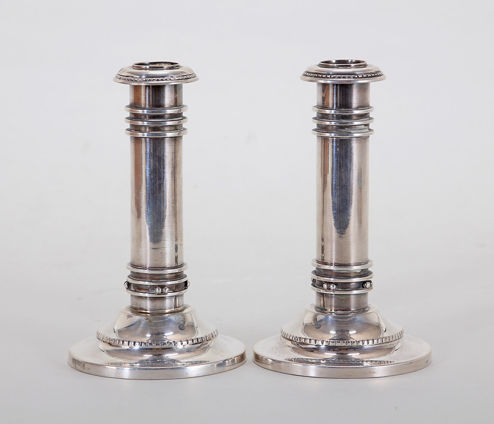 Georg Jensen Candlesticks With Georg Jensen's Signature from Victor Klæbel Private Silver Collection
