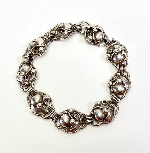 Bernhard Hertz Mid-Century Modern Silver Bracelet Art Nouveau Style