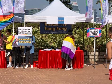 Volunteers working at HKPride Booth