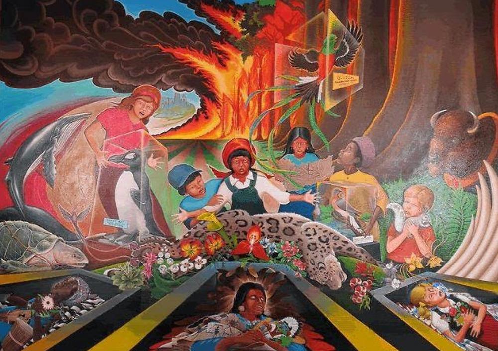 """""""Paz y armonía con la naturaleza"""" mural del aeropuerto de Denver"""