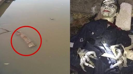 Muñeco ventrílocuo flotando en el río