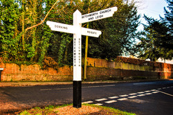 (PHOTOSHOPED)Our Surrey Vintage 1920's Traditional Black & White Painted Finger Post Sign.