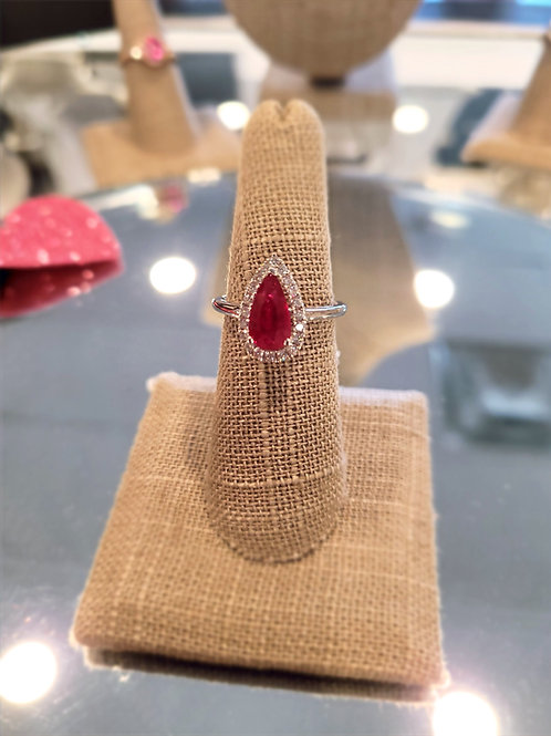 Teardrop ruby ring