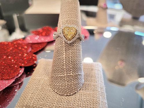 Yellow heart shaped diamond ring