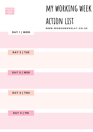 My Working Week Action List - Women Who