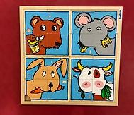 4 Puzzles de 4 pièces sur le thème des animaux