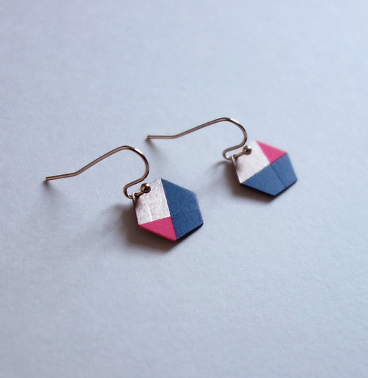 Geometrische Ohrringe Hexagon Marine - Pink, roségoldfarben