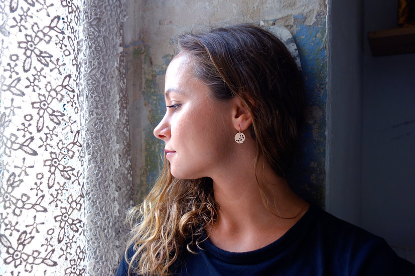 Ohrringe Magnolie, roségoldfarben, Siebdruck