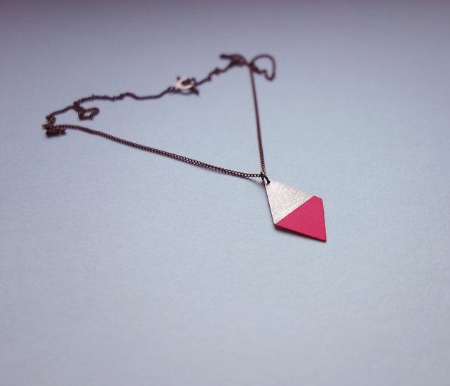 Geometrische Kette Trapez Neon Pink, roségoldfarben