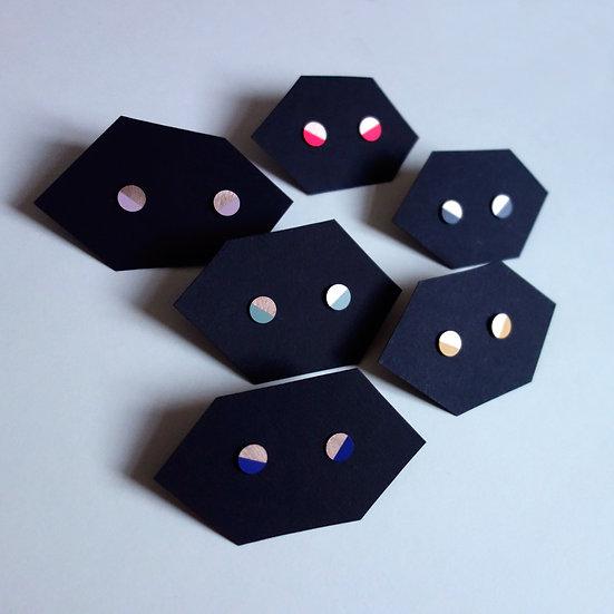 Geometrische Ohrstecker Kreis, roségoldfarben, Halbmond