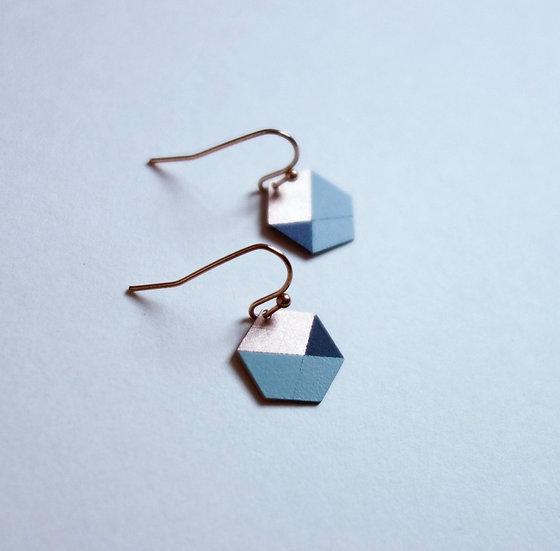 Geometrische Ohrringe Hexagon Mint & Schwarz, roségoldfarben