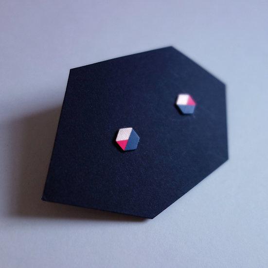 Geometrische Ohrstecker Hexagon Marine - Neon Pink