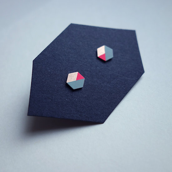 Geometrische Ohrstecker Hexagon Mint- Neon Pink