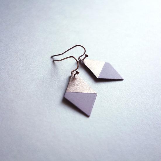 Geometrische Ohrringe Trapez Rosa, roségoldfarben