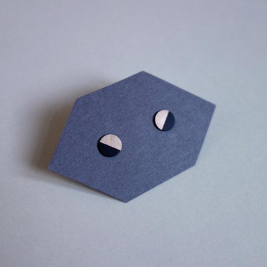 Geometrische Ohrstecker Kreis Schwarz, roségoldfarben, Halbmond