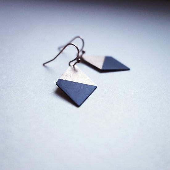 Geometrische Ohrringe Trapez Schwarz, roségoldfarben